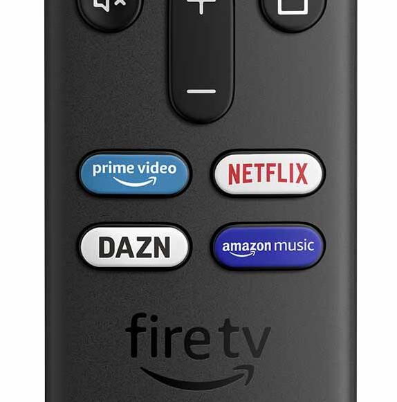 Fire TV Stick 4K MaxのプライムビデオやNetflixを一発で呼び出しできるボタンが搭載された、Alexa対応の付属リモコン